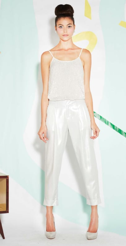 A subtle way to shine this Spring — metallic pants with a matching top and shoes.