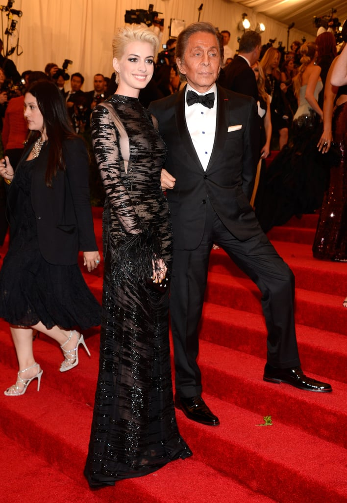 Anne Hathaway and Valentino at the Met Gala 2013.