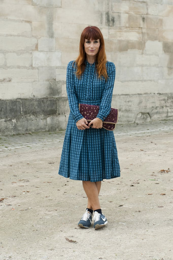 Cross-trainers and a patterned dress made an unexpectedly sweet match.