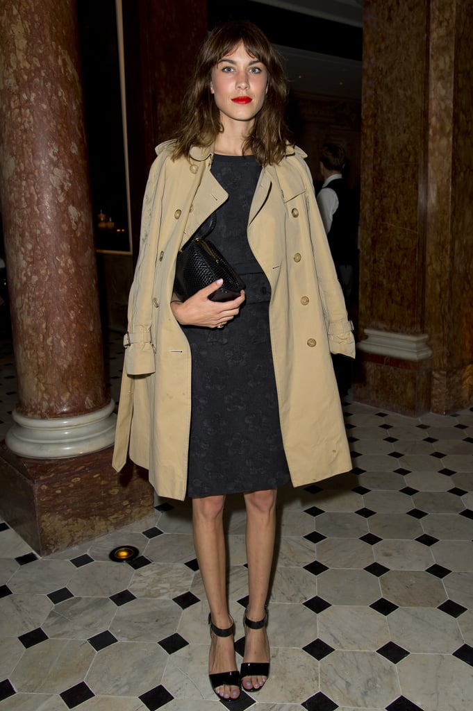 Alexa Chung attended a cocktail party for Fashion Week in London.