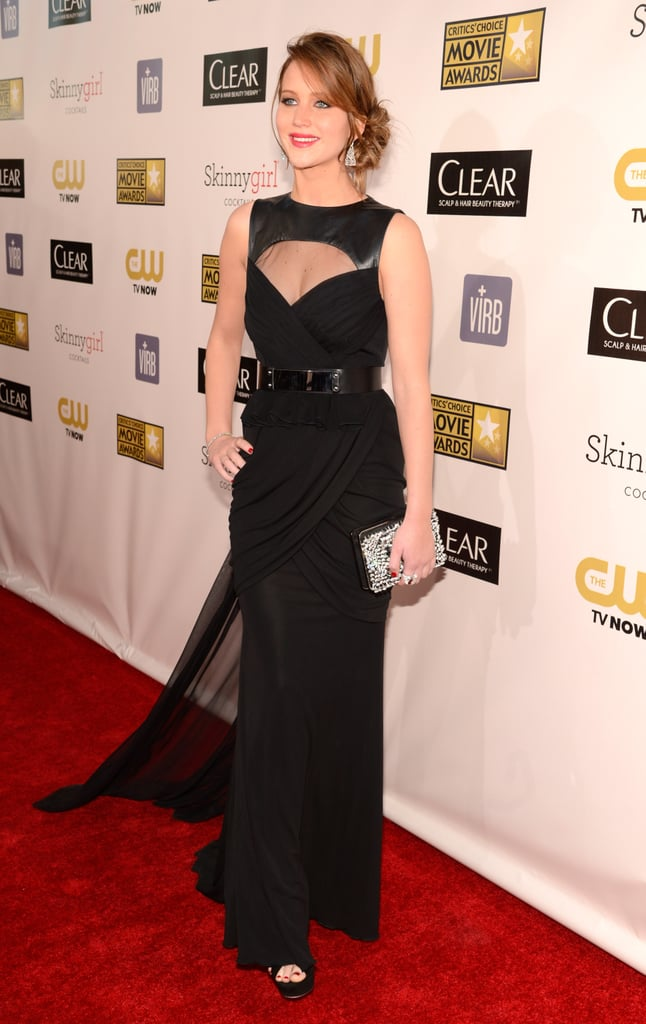 Jennifer Lawrence Goes Dramatic on the Critics' Choice Red Carpet