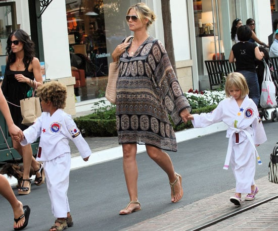 Photo Slide of Pregnant Heidi Klum Picking Up Leni and Henry From Karate