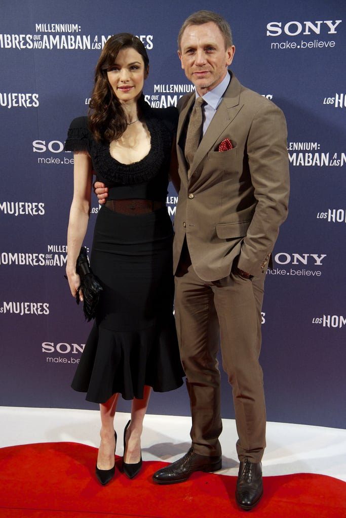 Rachel Weisz was pretty in black, while Daniel Craig opted for a natural brown suit.