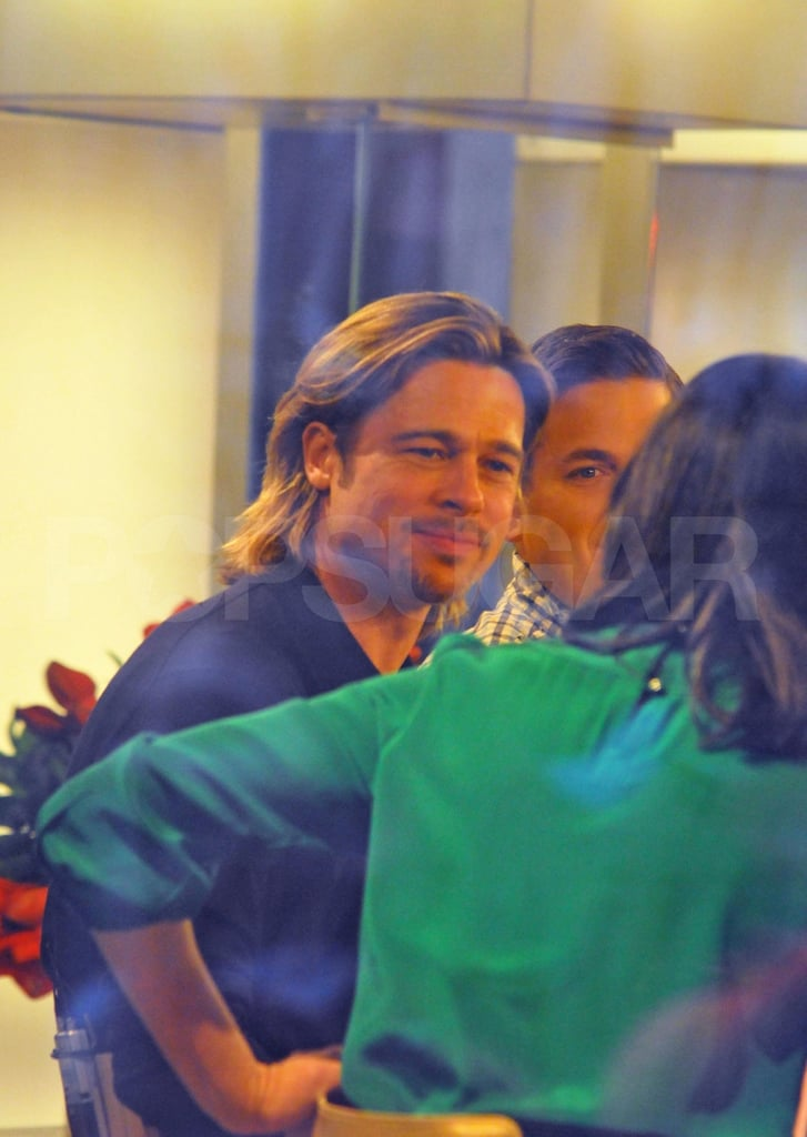 Brad Pitt listened intently to Ann Curry on The Today Show.