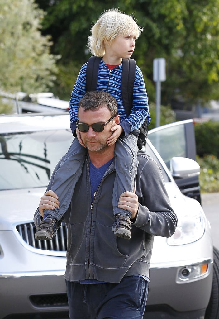 Liev Schreiber and Alexander both wore hoodies.