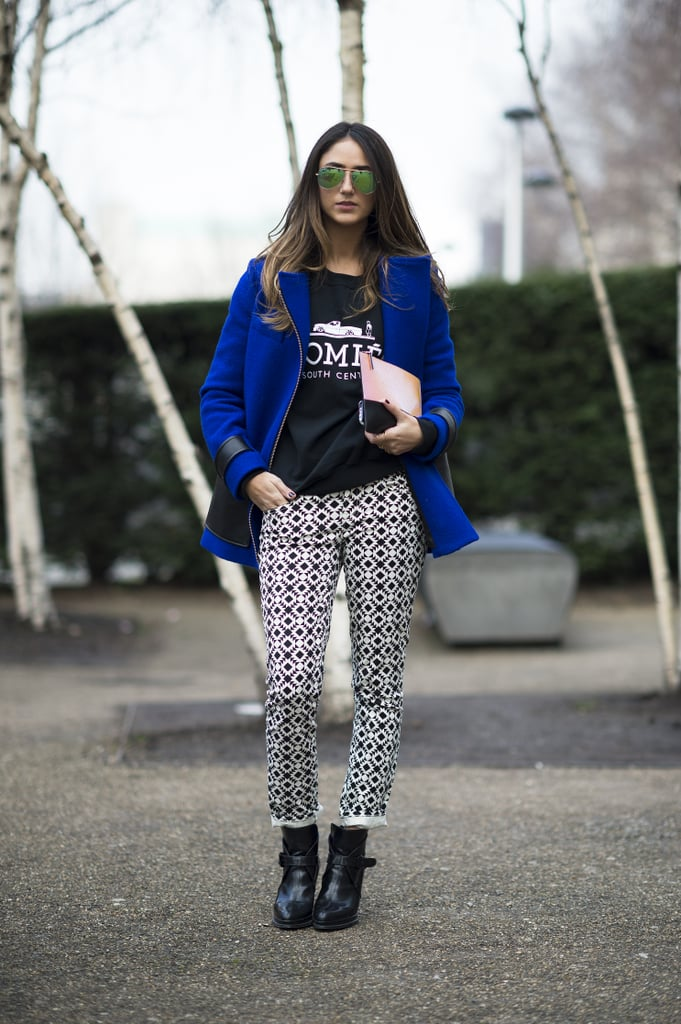 Bold outerwear and mirrored shades added up to a big effect in this printed-trouser and tee look. Source: Le 21ème | Adam Katz Sinding