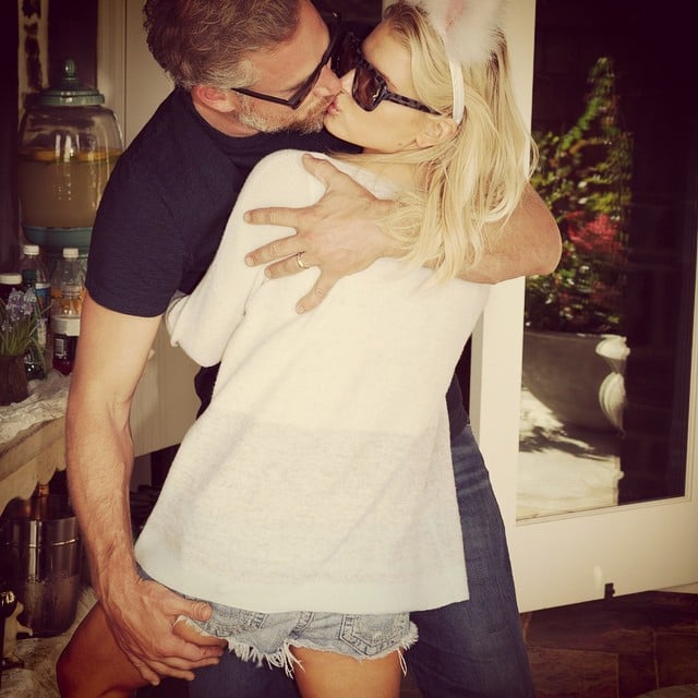 Jessica Simpson and Eric Johnson shared a passionate kiss during their Easter 2015 celebration.