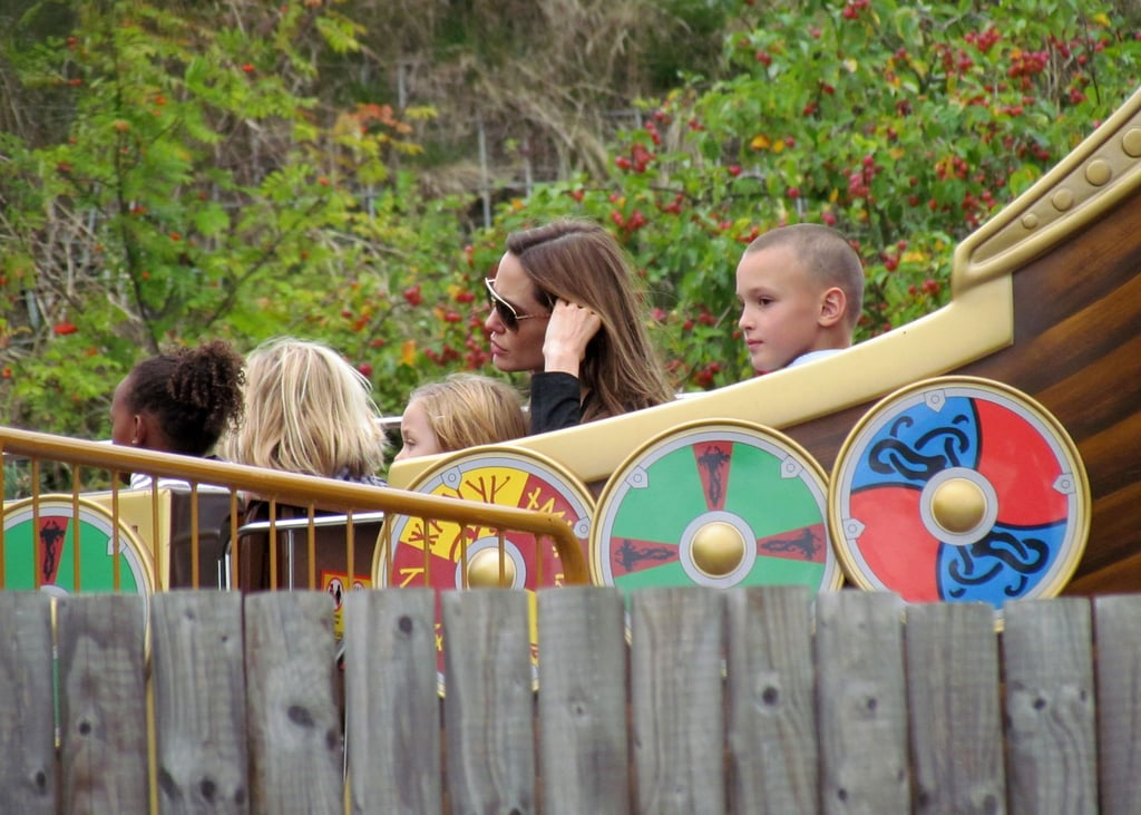 Angelina Jolie takes a ride at Legoland.