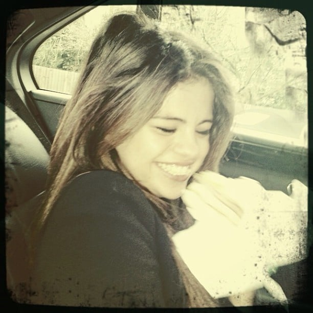 Selena Gomez snacked on an Egg McMuffin on the way to a photo shoot. Source: Instagram user selenagomez