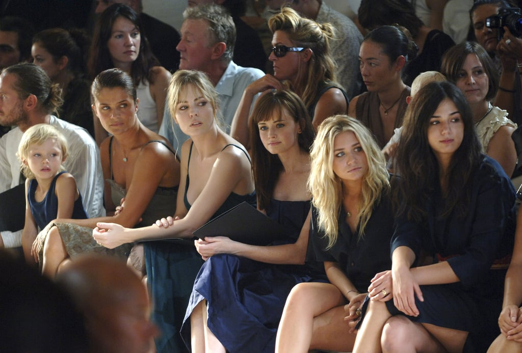 Helena Christensen, Melissa George, Alexis Bledel and Ashley Olsen checked out Calvin Klein's NYC show in September 2005.