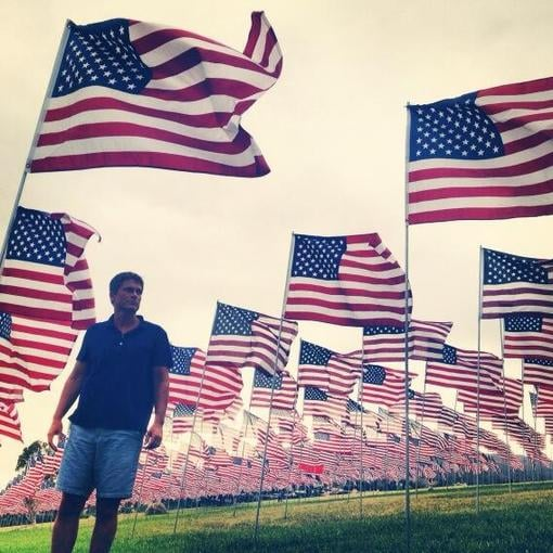 Rob Lowe was surrounded by American flags. Source: Twitter user RobLowe