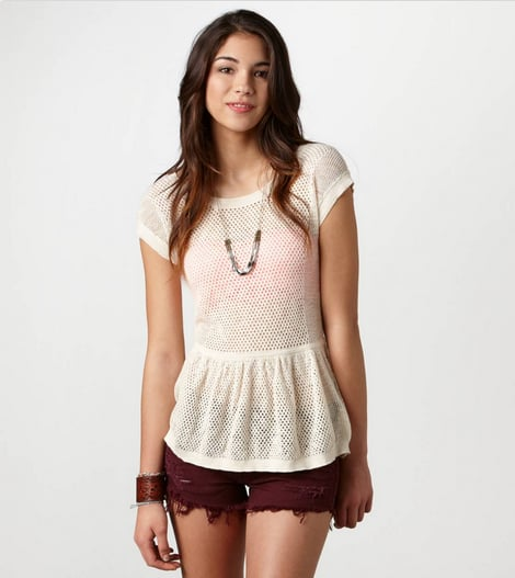 AE's Open-Stitch Peplum Top ($40) is perfect for throwing on over a bikini top or neon bra.