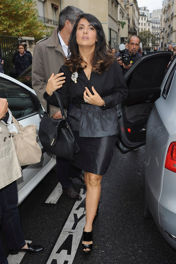Salma Hayek walked through the street in Paris.