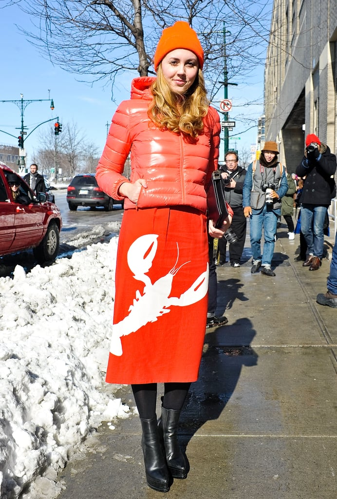 Tibi's playful lobster print and a coordinating puffer and hat were (quite literally) a bright spot on the street.