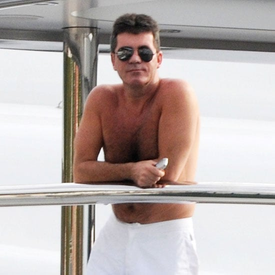 Shirtless Simon Cowell Yachting in St Barts Pictures
