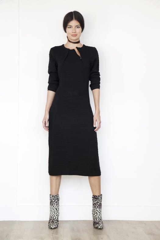 Ottoman Knit Merino Sweater Dress in Black ($695), Soho Pony Boot in Grey Leopard ($1,295) Photo courtesy of Tamara Mellon