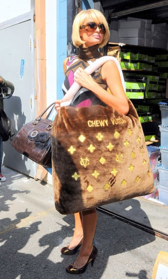 Paris Hilton Strolls Robertson Boulevard in LA Carrying a Chewy Vuitton Dog Bed