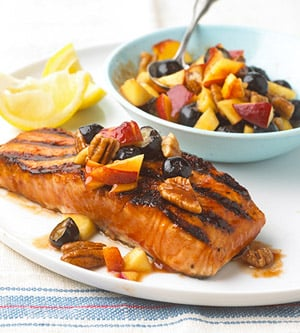 Grilled Salmon With Fruit Salad Recipe