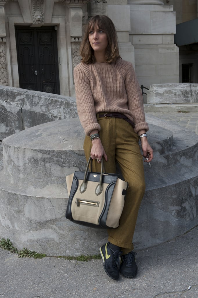 Lounging stylishly in Nikes, knits, and of course, a two-toned Céline tote.