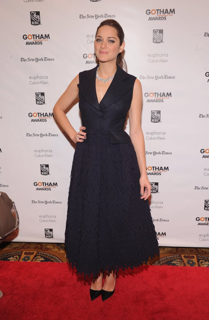 Marion Cotillard's navy Christian Dior Fall 2012 couture dress was equal parts structured and flowy at the Gotham Independent Film Awards.