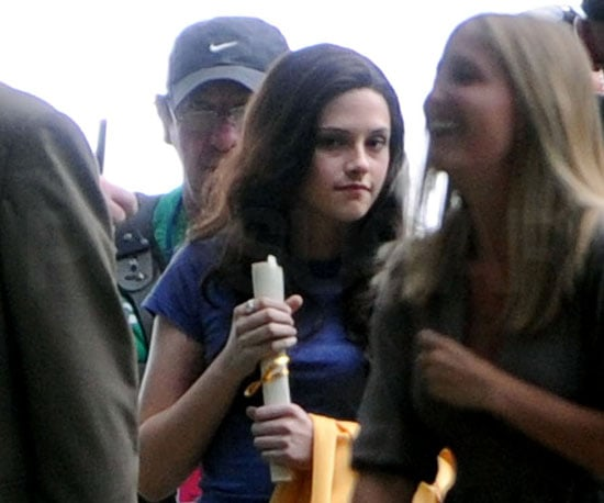 Slide Photo of Kristen Stewart on Set of Eclipse in Vancouver with Long Hair