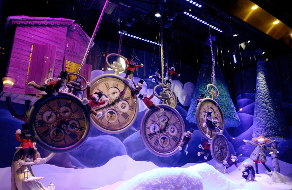 Department stores in Paris were decorated for Christmas.