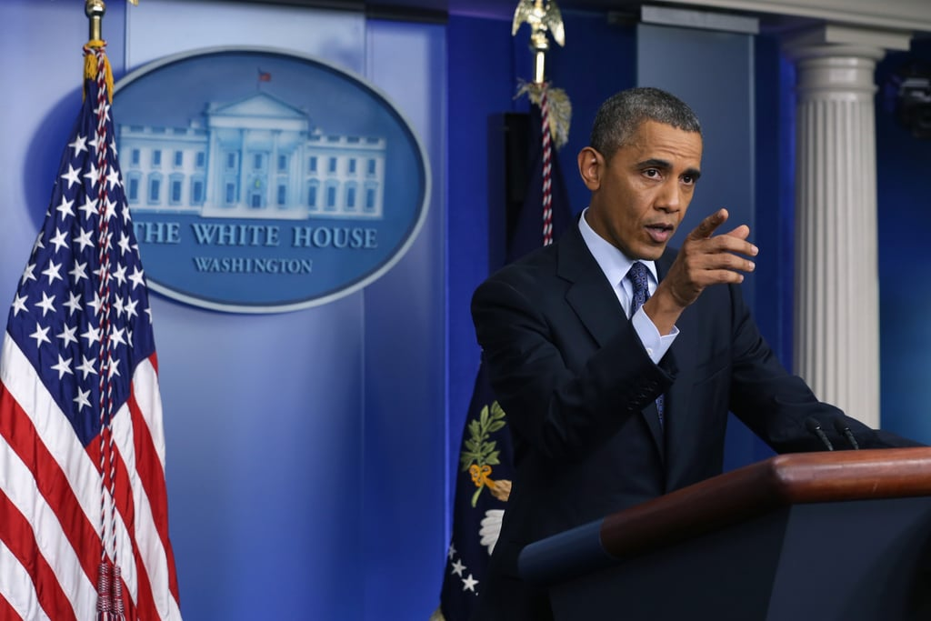 President Barack Obama spoke from the White House during a press conference on day eight of the government shutdown.