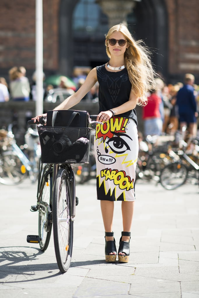 """There's nothing quite so statement-making as a skirt that literally says: """"pow!"""". Source: Le 21ème 