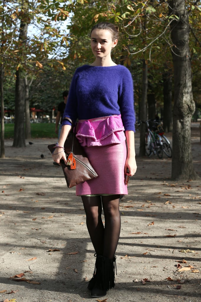 Colorblocking and textural play are both at work in this ladylike look.