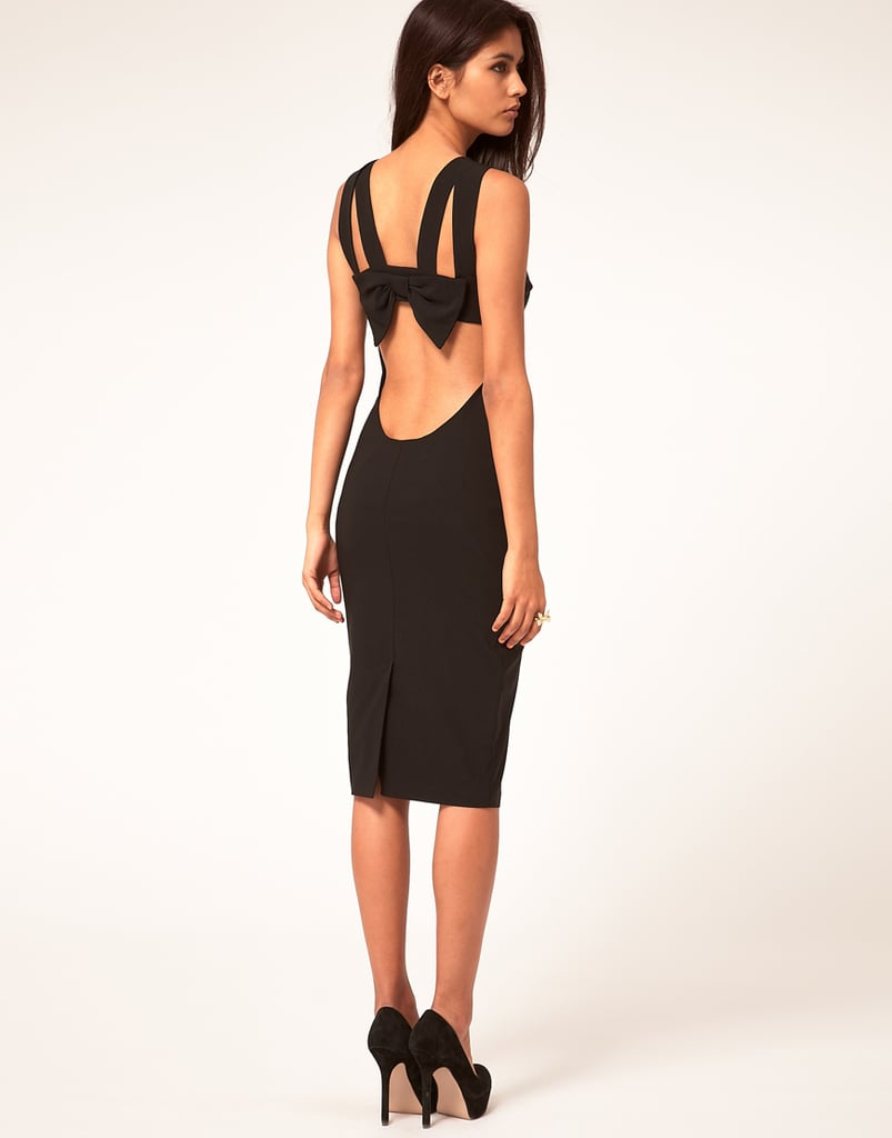 How sexy is the back on this LBD? The sultriest option for your black-tie weddings.  Hybrid Dress Strappy Bow Back Details ($152)