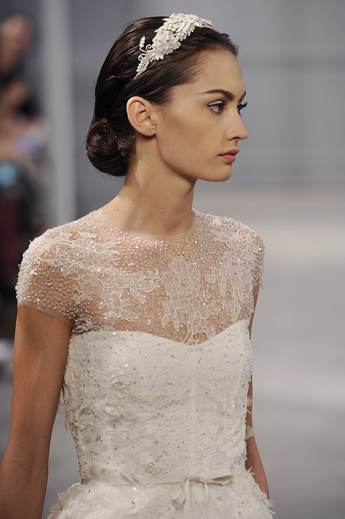 As a part of the finished look, a few models wore jeweled headbands as opposed to the classic veils.