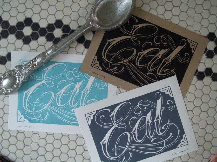 Roll and Tumble Press's woodblock-inspired illustrated Eat Poster ($20) gets straight to the point.