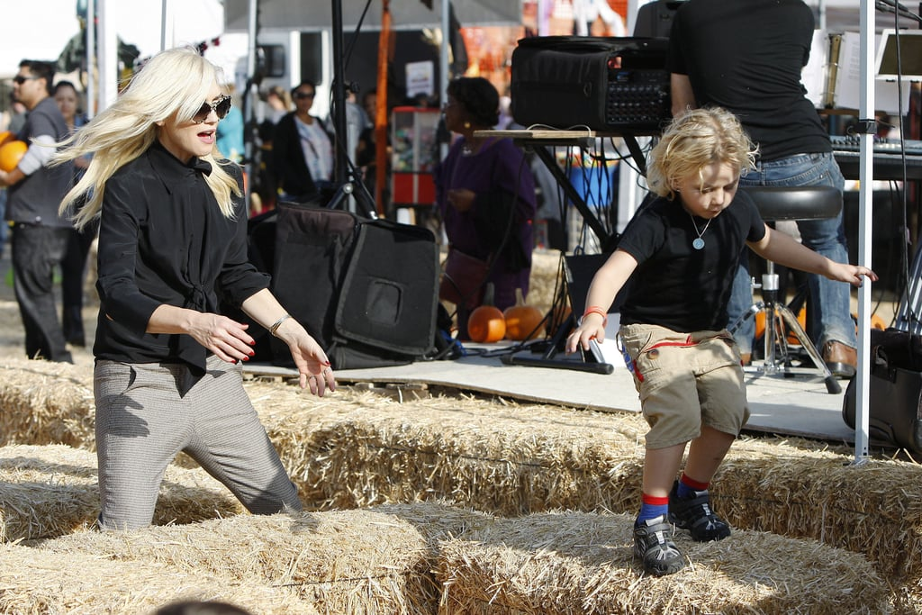 Gwen Stefani kept up with Zuma Rossdale as he jumped over haystacks.