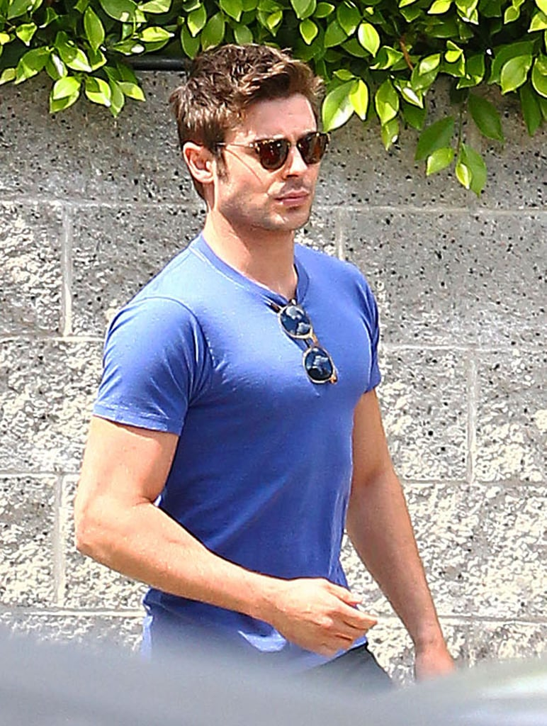 Zac Efron wore blue while out in LA on Monday.