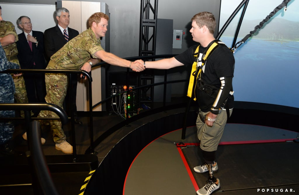 Prince Harry visited with veterans at the Walter Reed Memorial Hospital for Injured Servicemen.