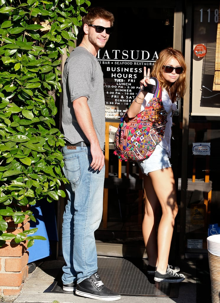 Miley Cyrus and Liam Hemsworth grabbed lunch in LA in June 2010.