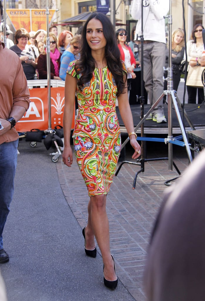 Jordana Brewster punched up a basic shift dress with bright colors and prints, then kept her feet classic in black pumps with subtle white piping.