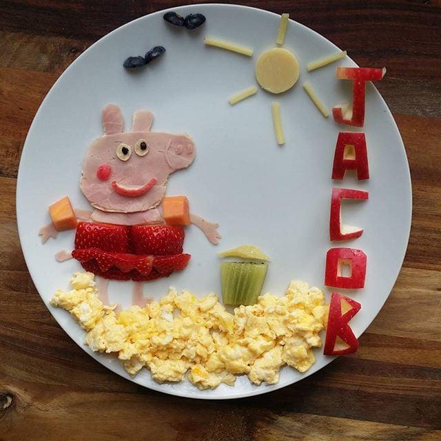 Peppa Pig ham and eggs.