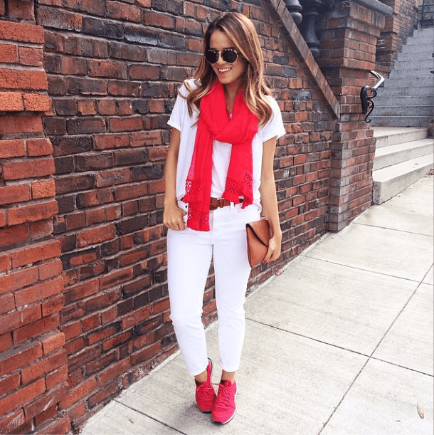 Keep it casual, but inject more of a statement just by selecting a couple of bright pieces.  Source: Instagram user juliehengel