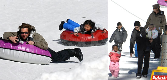 Brad and Angelina Jolie Take the Kids to Mammoth to Play in the Snow