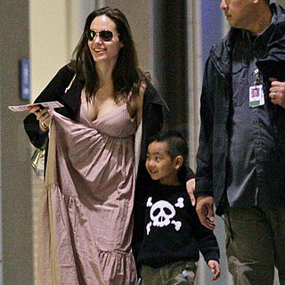 Pregnant Angelina Jolie and Maddox Jolie-Pitt at the Austin Airport
