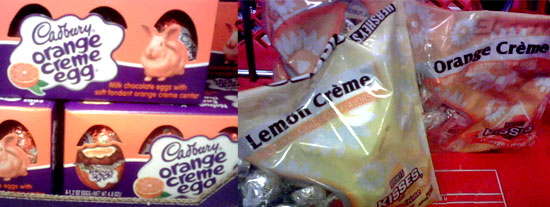 Orange Cadbury Creme Eggs and Lemon and Orange Hershey Kisses