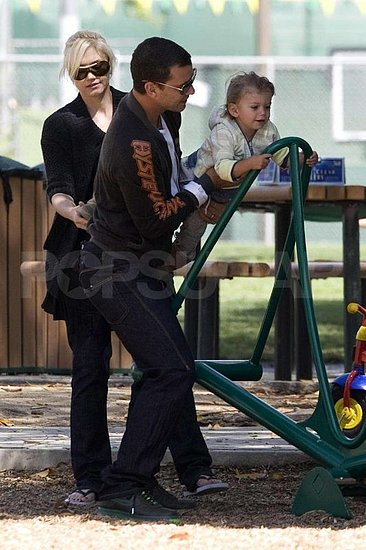 Gwen Stefani and Gavin Rossdale playing with Kingston at the park.