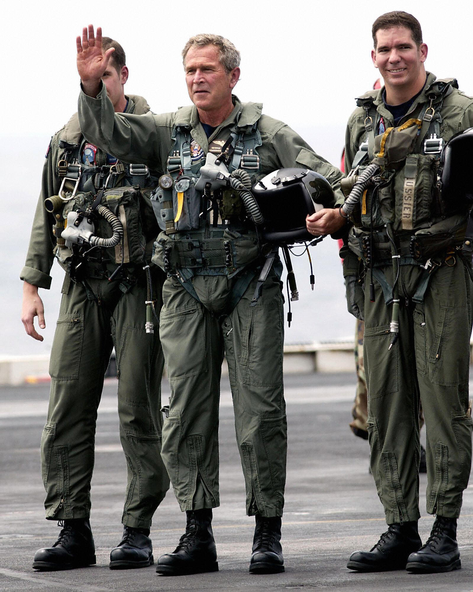 May 1, 2003, Bush lands on the aircraft carrier USS Abraham Lincoln.