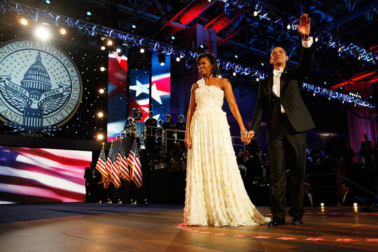 Michelle Obama in a White Jason Wu Gown at the Inaugural Ball