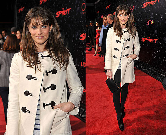 """Amanda Peet Attends """"The Spirit"""" Los Angeles Premiere in an Ivory Toggle Coat"""