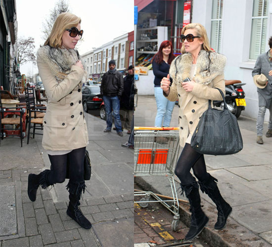 Kate Moss Hangs Out in London in Fur Coat and Yves Saint Laurent Bag