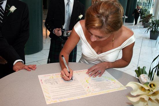 Signing the ketubah.