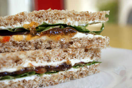 Cream Cheese and Pepper Jelly Sandwich