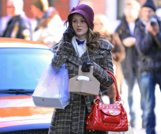 Photo of Leighton Meester Filming Gossip Girl
